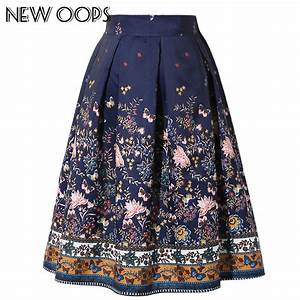 NEW OOPS 2017 New Design Midi Skirts High Waist Vintage Floral Printed Swing Pleated Flared ...