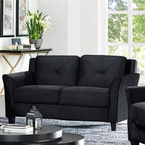 Black Microfiber And Loveseat by Lifestyle Solutions Hartford Microfiber Loveseat In Black