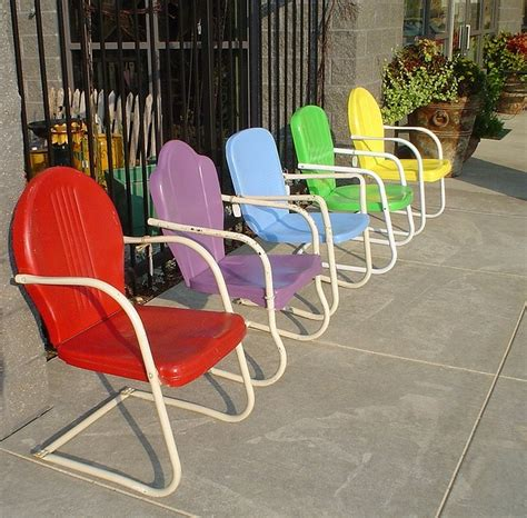 beautiful colors vintage metal chairs