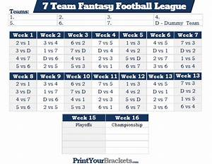 Printable 7 team fantasy football league schedule for 7 team schedule template