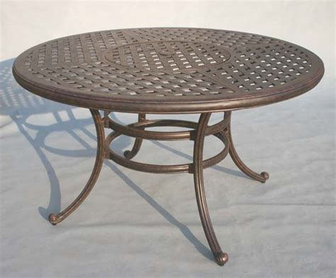 52 round dining table patio furniture table dining cast aluminum 52 quot round w ice