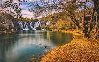 Desktop Wallpapers Kravice Bosnia Landscape Autumn Waterfall