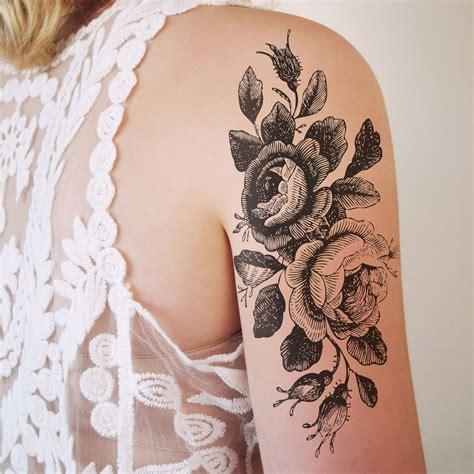 Large Vintage Roses Floral Temporary Tattoo Tattoos