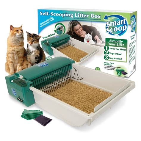 electric cat litter box smartscoop basic green self scooping cat litter box petco