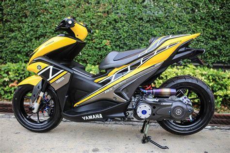 Modifikasi Aerox by Modifikasi Yamaha Aerox Kuning Sing Kiri Warungasep
