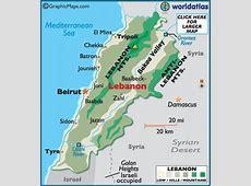 Lebanon Map Geography of Lebanon Map of Lebanon