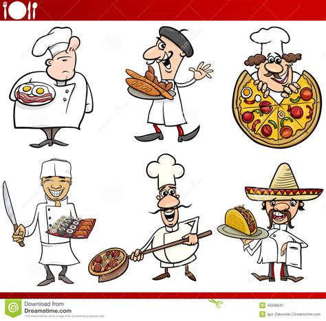 cuisine humour international cuisine chefs stock vector
