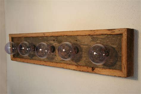 vanity light fixture reclaimed oak barnwood bath reno