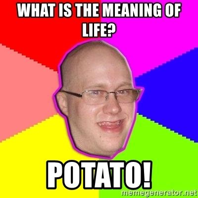 Meme Meaning - what is the meaning of life potato artard meme generator