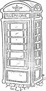 Booth London Phone Sketch Telephone Coloring Stamps Box Magnolia Pages Colouring Outline Sheets Drawing Line British Drawings Rickshaw Tampons Google sketch template