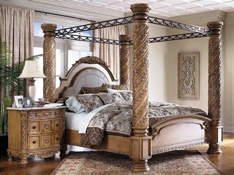 bedroom gorgeous cherry wood canopy bed  wrought iron