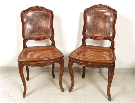 chaises cannées louis xv carved walnut chairs pair caned acanthus flowers