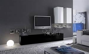 Meuble Tv Suspendu Blanc : meuble tv suspendu noir ~ Teatrodelosmanantiales.com Idées de Décoration