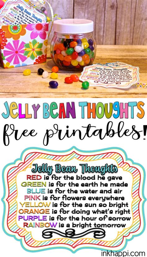 jelly bean thoughts  easter  printable gift tags