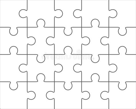 blank puzzle template jigsaw puzzle blank template 4x5 twenty pieces stock illustration image 59155667