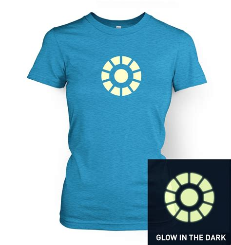 arc reactor glow in the s t shirt