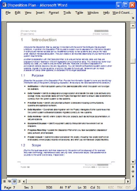 disposition plan template ms word templates forms