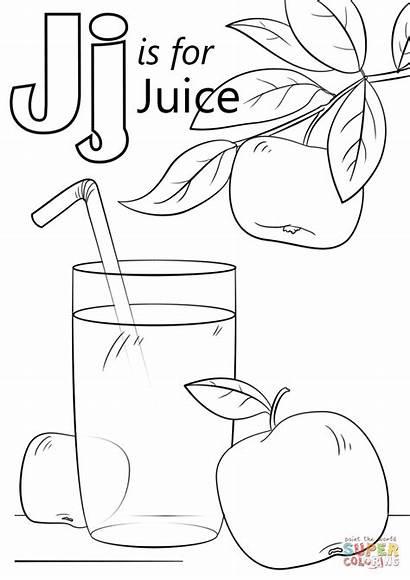 Coloring Letter Juice Pages Preschool Alphabet Printable
