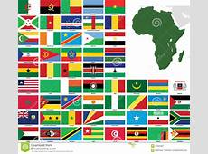 Africa Vector Flags And Maps Stock Vector Illustration