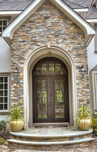 European, Style, Home, With, Natural, Thin, Stacked, Stone, Cladding, -, Mediterranean, -, Entry