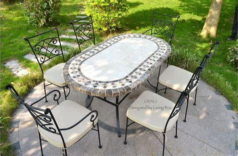 outdoor dining table oval marble mosaic garden patio table