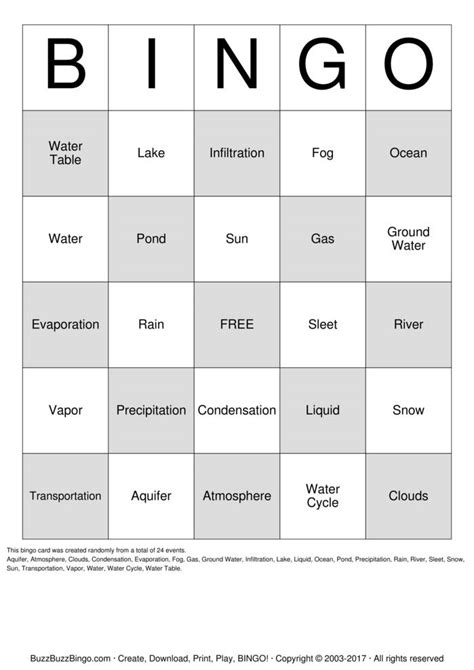 water cycle bingo cards   print  customize