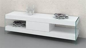 Meuble Tv Pied Metal : meuble tv crystalline avec pied en verre mobilier moss ~ Teatrodelosmanantiales.com Idées de Décoration