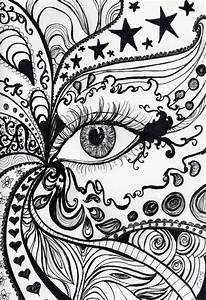A4 print of original pen and ink drawing. Abstract eye ...