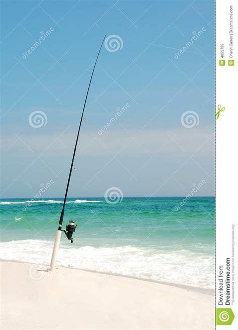 fishing pole beach line ocean royalty dreamstime