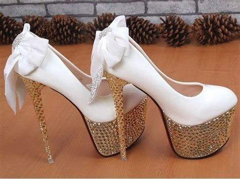 Wedding High Heels by White High Heels Bridal Wedding Shoes With