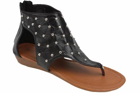 Women Gladiator Roman Studded Flat Fashion Thongs Sandals