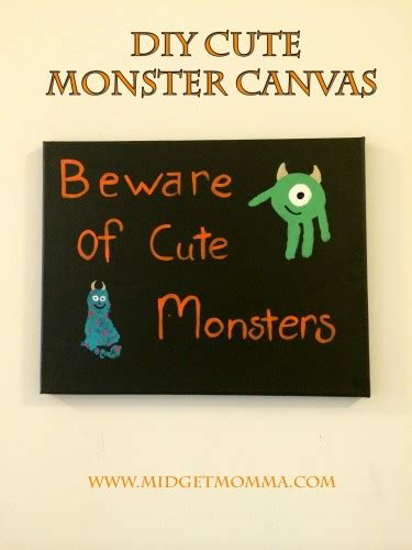 diy cute monster canvas with monster inc using kids hand