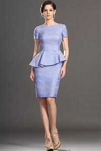 short sleeve knee length sheath lilac purple peplum jacket With short sleeve dresses for wedding guests