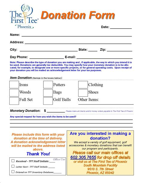 charitable donation form template clergy coalition