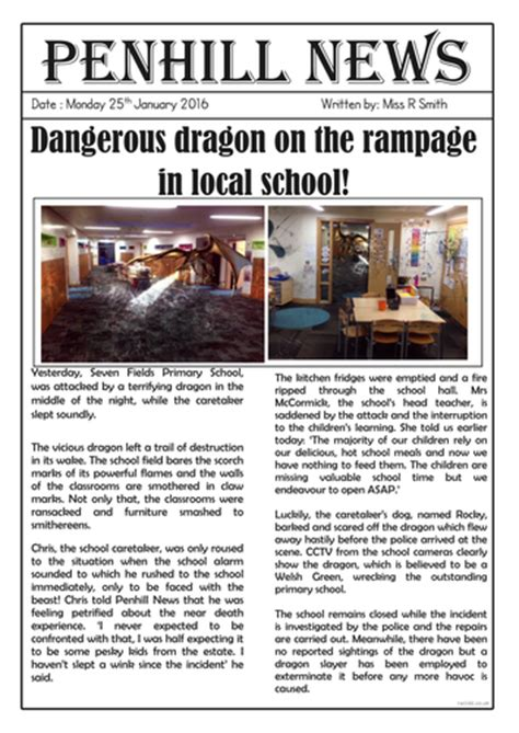 dragon sighting newspaper report  roso teaching resources tes