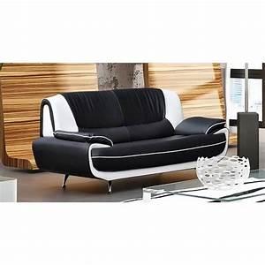 Canape C Discount : canap 3 places design noir et blanc marita achat vente canap sofa divan cdiscount ~ Teatrodelosmanantiales.com Idées de Décoration