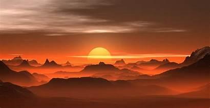 Desert Sunset Landscape Mountains 4k Nature Amber