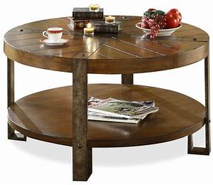Coffee table excellent small round reclaimed wood coffee for Wood coffee table with iron legs