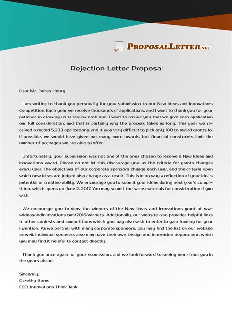 pin  proposal letter samples usa  rejection letter