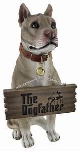 Bark Off!' Cute Pit Bull Un-welcome Statue Dog