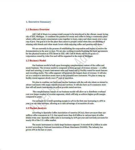 Here's a sample 'executive summary' for a coffee shop business plan: Sample Business Plan For Coffee Shop Pdf Download