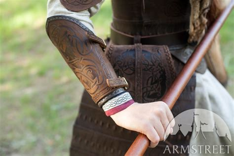 viking embossed leather bracers shieldmaiden