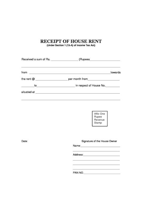 rent receipt template   information  include