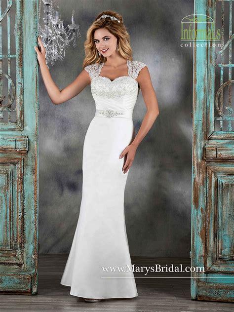 marys bridal  satin queen anne neckline cutout