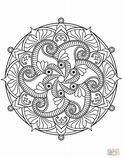 Mandala Coloring Flower Mandalas Pages Printable Floral
