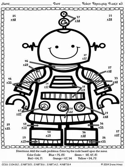 Math Robot Puzzles Addition Coloring Regrouping Code
