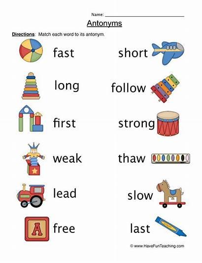 Antonyms Worksheet Worksheets Opposites Antonym Fun Matching