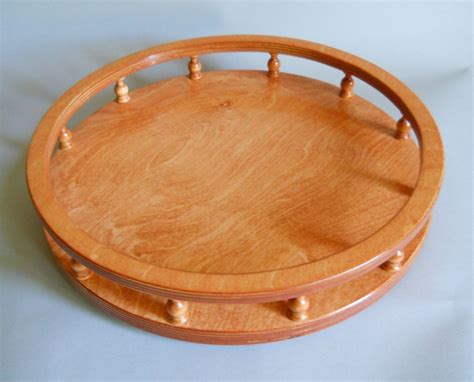 hand crafted lazy susan  finials tray counter