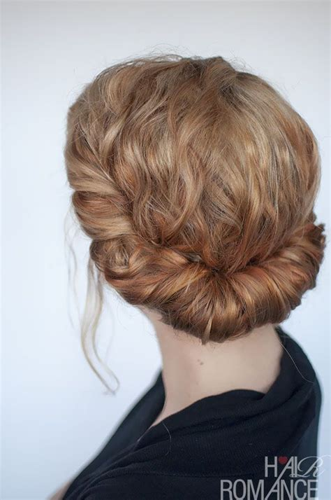 curly hairstyle tutorial rolled headband updo beauty