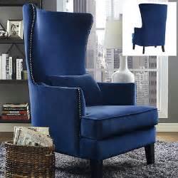 upholstered wingback chair velvet blue armchair accent